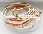 Custom Cuff Bracelet, Personalize Cuff Bracelet, Personalize Jewelry, Personalize Custom Rose Gold Silver Dainty Bracelet, Quote Jewelry