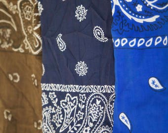3 Vintage Bandana Scarves Lot: Brown, Bright blue ,Navy Blue #rh113/color fast ,all cotton