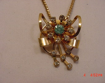 Vintage Rhinestone Brooch / Pendant Necklace  16 - 752