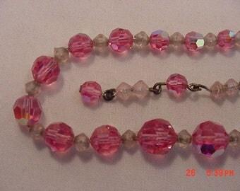 Vintage Pink Aurora Borealis Crystal Adjustable Necklace  17 - 399