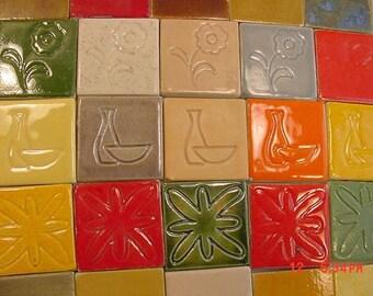 """156 Vintage Miniature 1 1/4"""" Square Tiles  17 - 491"""