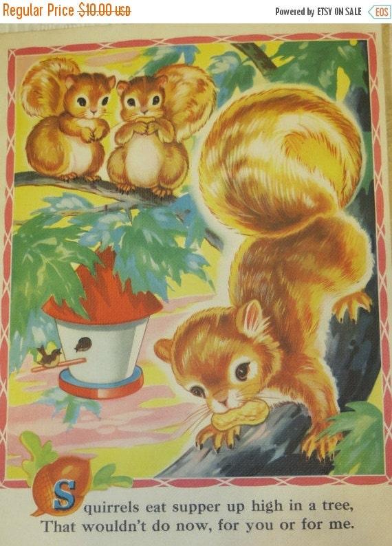 ON SALE Vintage Ruth Newton Nursery Rhyme Book Print-Baby Squirrel