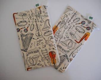Reusable Zipper Snack Bags BPA Free Eco Friendly Set of 2 Music Piano Harp Violin Tuba Trumpet notes  print Teacher Gift