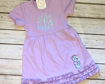 Seahorse Dress, Beach, Birthday, Beach Dress, Ruffle Dress, Vacation Dress, Lavender, Mint, Custom, Appliqué, Monogram