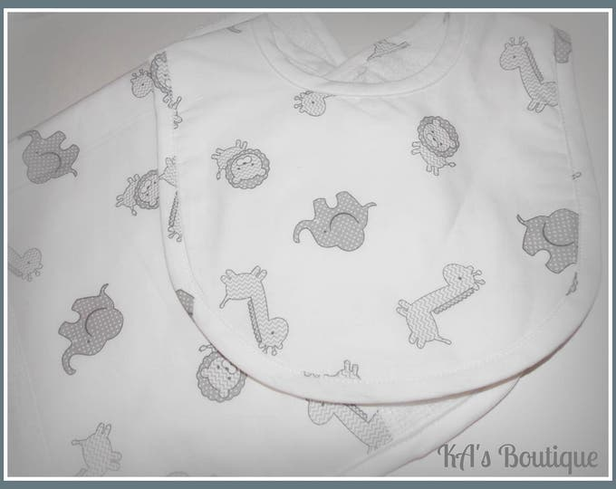 New baby shower gift bib burp cloth blanket grey gray safari polka dot circle personalized