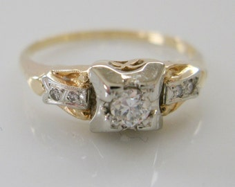 Engagement Ring .15 Carat Diamond Heirloom-Quality Art Deco 14 Karat Yellow and White Gold Antique Recycled Wedding Ring Sz 6.75 TCW .20