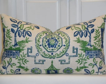 Oriental toile - DOUBLE-SIDED - Blue Green Teahouse Pagoda Decorative Pillow Covers - Toss Pillow - Accent Pillow - Chinoiserie Pillow
