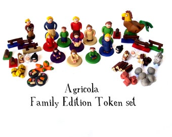 Agricola Family Edition Clay Pieces, Farmer families, building resources, animeeples, food tokens, unique game pieces, custom tokens