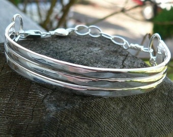 10 dollars off: Sterling Silver 3-Tier Cuff - Personalized - 5 font choices
