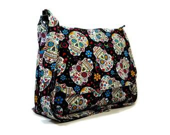 Handmade Black Pocketbook, Skulls Messenger Bag, Purse, Black Crossbody Bag, Adjustable Strap Shoulder Bag, Fabric Purse, Cross Body Bag