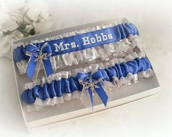Winter Wonderland Wedding Garters - Something Blue Garter Set - Personalized Bridal Garters - Embroidered Garter Set - Handmade in the USA.