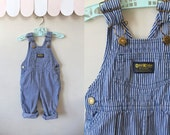 vintage toddler's overalls - OSHKOSH engineer striped denim jumpsuit / 24M / 2T
