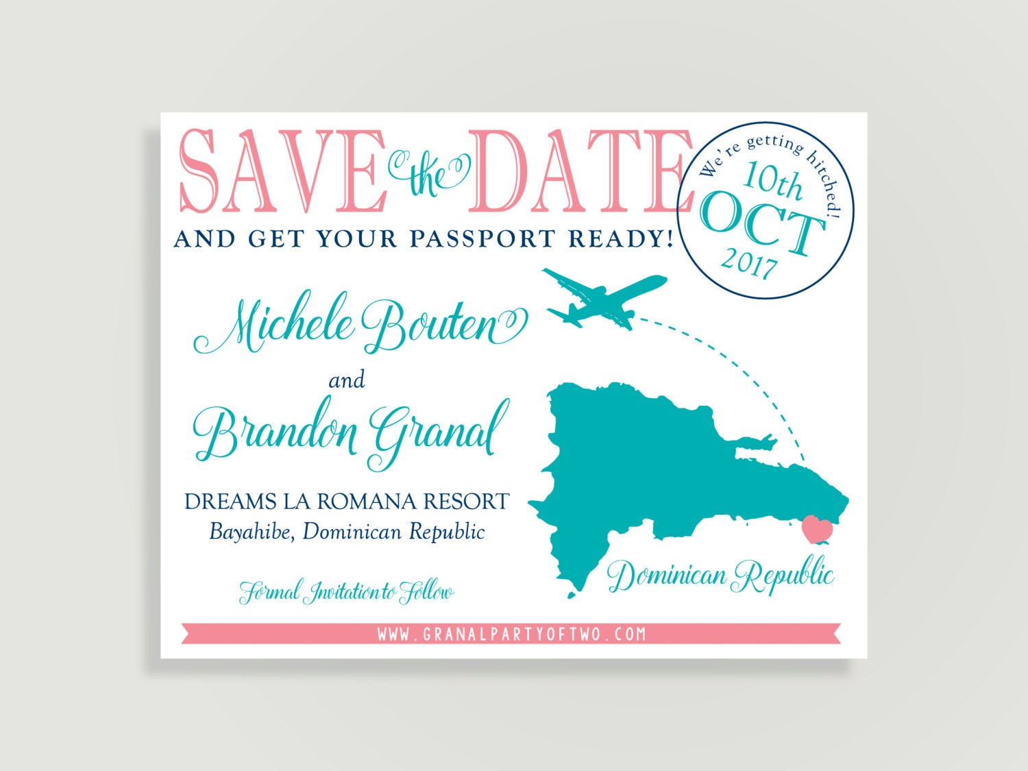 Destination Wedding Save The Date Magnet And Kraft Paper