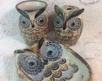 10% OFF 1970s Owl Woodland Bathroom Set - set of 3 Soap Dish, Toothbrush Holder and Cup Ceramic