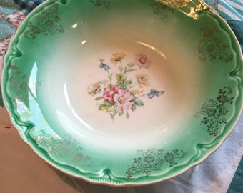 Shabby Chic Vintage Serving Bowl Floral Green Rim Gold Floral Made in The USA #D-4104