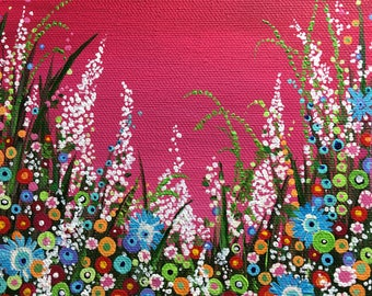 Contemporary Art. Floral Art. Colorful paintings. psychedelic art. flower painting. Modern Floral Art. Garden scene. Flower art. Modern art.