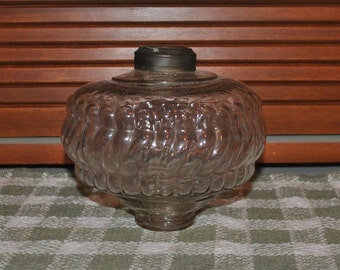 Antique Glass Oil Lamp Font with Threaded Base