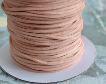 Light Pink Rose Faux Suede Cord Lace 3x1mm 5 yards Vegan Leather Cording 3mm