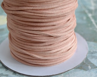 Light Pink Rose Faux Suede Cord Lace 3x1mm 5 yards Vegan Leather Cording