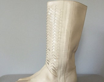 30% OFF WINTER SALE... herringbone tall leather boots   1970s pirate boots   8.5