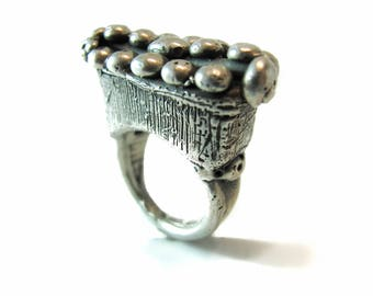 Sterling Silver Limited Edition Cleopatra Ring, Via Appia Granulated Oversized Ring