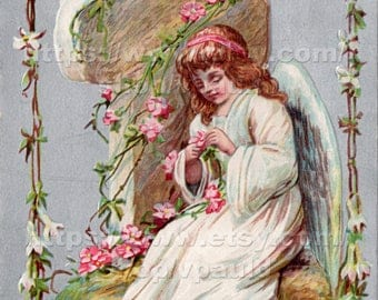 Instant Download Vintage Easter Card Reproduction Angel and Flowers