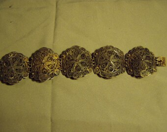 Vintage Sterling Silver Filigree Wide Link Bracelet Lg Size 41 Grams 9160