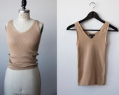 Vtg 90s Sand Beige Knitted Cropped Cotton Tank Nude The Gap Basic XS