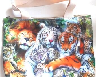 Lion tiger leoaprd jaguar cheetah big cat animal funny shoulder handbag shopping tote lunch tablet laptop bag 2 sided image zipper purse