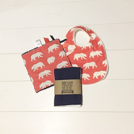Organic Red Bear Print Gift Set - Infant Bib, Burp Cloth, Crinkle Sensory Lovey - New Mom Essentials Baby Shower Gift