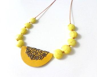 Yellow gems half circle necklace, yellow filigree leather necklace, yellow necklace