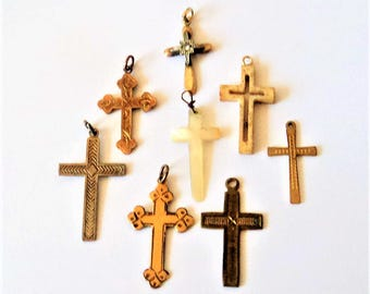 8x Religious Cross Pendants... c.1900-1950s... Sterling Rolled Gold Bone Mother of Pearl