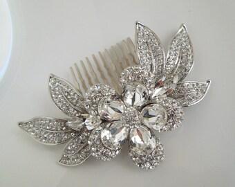Wedding Crystal Hair Comb, Swarovski Rhinestone Bridal Comb, Flower and Leaf Hair Accessories, Bridal Hair comb, Swarovski hair comb, HANA