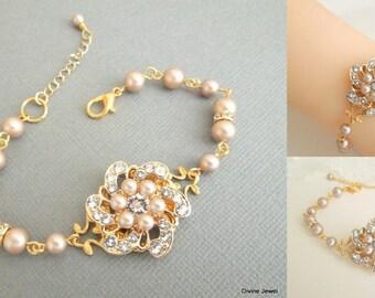 Pearl Bridal Bracelet champagne Swarovski Pearl Bracelet Pearl Wedding Pearl Bracelet Pearl Rhinestone Bracelet swarovski crystal AMELIA