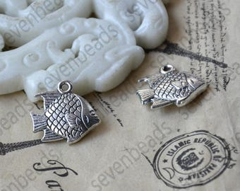 12 pcs Fish Charms Antique silver Tone fish Charm,fish Charms Fingdings pendant,jewelry pendant finding
