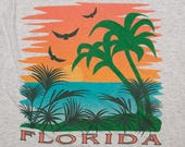 Florida T-Shirt, Tropical Graphic Tee, Vintage 80s, Screen Stars, Gray Polyester Cotton Blend, Fits Like Medium M, Palm Trees on Beach