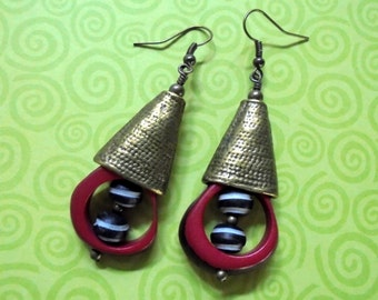 Red, Black and White Striped Ethnic Tribal Inspired Earrings (3104)