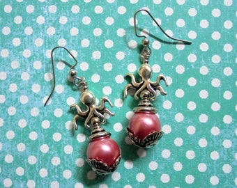 Pink and Silver Octopus Earrings (3464)
