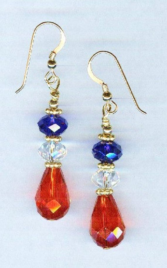 Patriotic Red White & Blue Faceted Crystal Bead Earrings 2