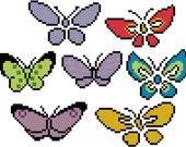 Seven Japanese Butterflies - Cross Stitch Pattern - Digital Download PDF