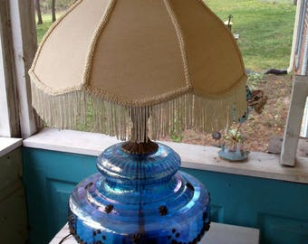 Lamp Large Gorgeous 1970u0027s Blue Glass Table Lamp Filigree Detail On Glass  And Base W Fringe