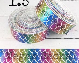 "2yd- 1.5"" Ribbon,  Holographic Laser Foil Ribbon, Cheer Bow Ribbon, Foil Ribbon,  Mermaid Scale Ribbon, Rainbow Mermaid on WHITE"