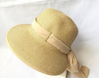 Adjustable Lady Straw Sun Hat 4inch brim