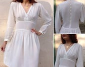 As is French 1940s VTG ivory rayon pleated midi dress