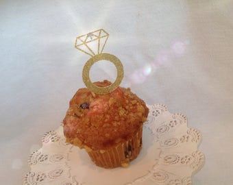 Diamond Engagement Glitter Ring Cupcake Topper.  Set of 12