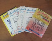 5 Vintage Aunt Marthas Cross Stitch Designs For Gingham Checks and Iron Transfers