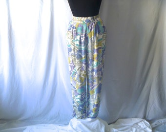 Vintage 90's Harem Pants with Tropical Earth Tones Pattern by Impressions Size Small