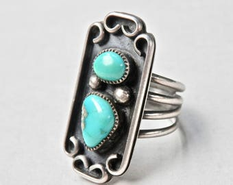 Vintage Navajo Turquoise Ring Sterling Silver Southwestern Native American Jewelry Size 5 Ring Shadowbox 1940s Blue Turquoise