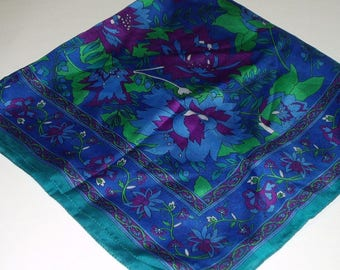 Vintage Berkshire Scarf Blue Purple Floral Made Italy Retro Fashion Head Scarf Neck Purse Kerchief Scarf Accessory