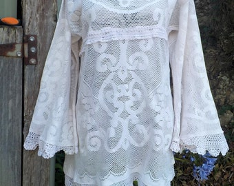 "vintage victoriana inspired lace tunic - hippy dress - boho alternative - medium / large  - 38""bust"